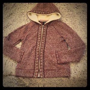 Sheepskin lined hoodie